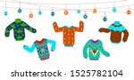 ugly christmas sweater. dancing ... | Shutterstock .eps vector #1525782104