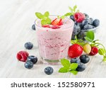 raspberry smoothie with fresh... | Shutterstock . vector #152580971