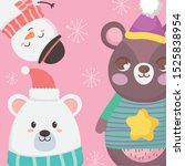 Two Bears And Snowman With...