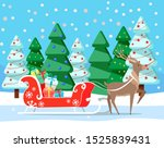 reindeer with carriage loaded... | Shutterstock .eps vector #1525839431