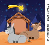 manger with donkey and ox in... | Shutterstock .eps vector #1525889621