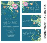 invitation or wedding card with ... | Shutterstock .eps vector #152589515