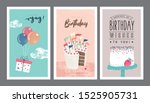 set of birthday greeting cards... | Shutterstock .eps vector #1525905731
