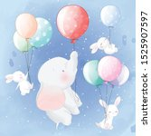 Cute Elephant And Bunny Flying...