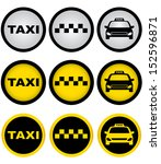 set of colorful taxi signs with ... | Shutterstock . vector #152596871