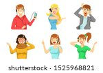 different people talking on... | Shutterstock .eps vector #1525968821