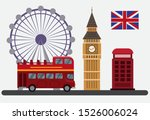Flat illustration with London Eye, red bus double decker, telephone box and other symbols of London, england, uk