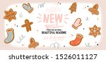 hand drawn cute holiday winter... | Shutterstock .eps vector #1526011127