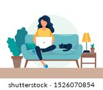 girl with laptop sitting on the ... | Shutterstock . vector #1526070854