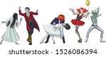 fun dancing halloween monsters. ... | Shutterstock .eps vector #1526086394