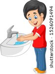 little boy washing his hands on ... | Shutterstock .eps vector #1526091494