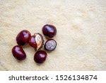 Chestnuts On Beige Background...