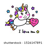 little unicorn holds a heart.... | Shutterstock .eps vector #1526147891