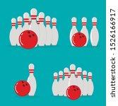 bowling ball and skittles. flat ...   Shutterstock .eps vector #1526166917