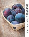 fresh plums in basket   Shutterstock . vector #152623889