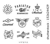 vintage labels with anchor, crown, arrow, wing