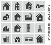 vector black building icons set | Shutterstock .eps vector #152625041