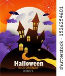 happy halloween banner or party ... | Shutterstock .eps vector #1526254601