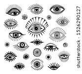 eyes set hand drawn  doodle... | Shutterstock .eps vector #1526290127