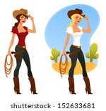 Two Cute Rodeo Girls With Lass...