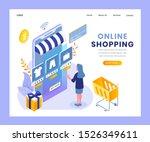 online shopping landing page...   Shutterstock .eps vector #1526349611