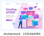 young man creates new email... | Shutterstock .eps vector #1526366984