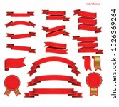 red ribbons banner vector...   Shutterstock .eps vector #1526369264