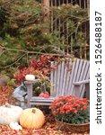 Autumn Scene In Garden  Wooden...