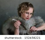 Portrait of a Woman in 1920s Style - stock photo
