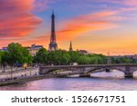 Sunset view of eiffel tower and ...