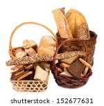 Composition of breads and baskets. - stock photo