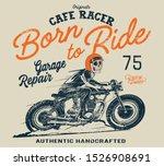Vector Cafe Racer Skull Rider...