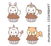 Set Of Kawaii Animals Cartoon...