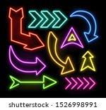 neon glowing arrow pointer set  ... | Shutterstock . vector #1526998991