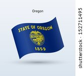 state of oregon flag waving... | Shutterstock . vector #152711495