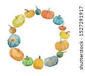 watercolor autumn wreath with...   Shutterstock . vector #1527291917
