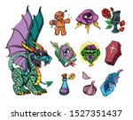 halloween set with traditional... | Shutterstock .eps vector #1527351437