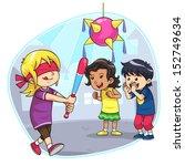 hitting pinata. vector eps10. | Shutterstock .eps vector #152749634