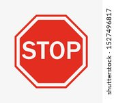 vector stop sign icon. flat...