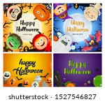 halloween orange  violet banner ... | Shutterstock .eps vector #1527546827