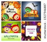 halloween orange  violet banner ... | Shutterstock .eps vector #1527546887