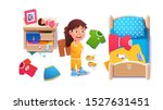girls untidy home room interior.... | Shutterstock .eps vector #1527631451