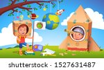 boys kids playing alien... | Shutterstock .eps vector #1527631487