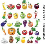 cartoon vegetables and fruits  | Shutterstock .eps vector #152765159