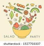 various salad ingredients... | Shutterstock .eps vector #1527703337