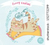 cute vector zodiac signs with... | Shutterstock .eps vector #152772299