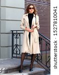 pretty woman posing on a city... | Shutterstock . vector #1527810041