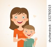 mother and son. happy family | Shutterstock .eps vector #152783015