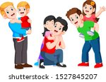 three happy father hugging his... | Shutterstock .eps vector #1527845207