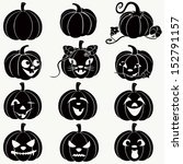 halloween pumpkins.  vector set ... | Shutterstock .eps vector #152791157